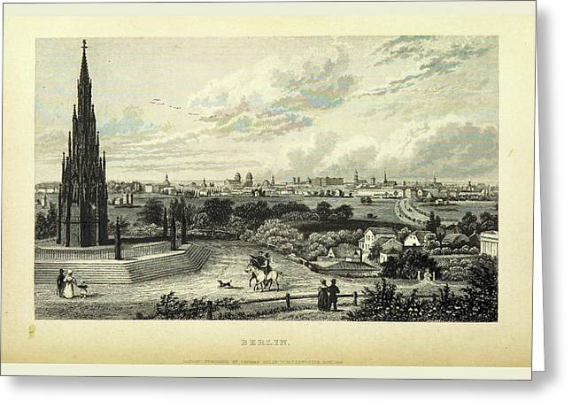 Berlin, Germany, 19th Century Engraving Greeting Card by Litz Collection