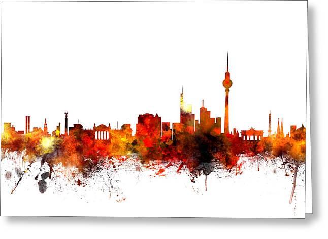 Berlin Germany Skyline Greeting Card by Michael Tompsett