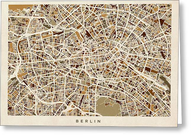 Berlin Germany Street Map Greeting Card by Michael Tompsett