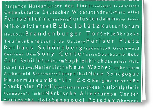 Berlin In Words Algae Greeting Card by Sabine Jacobs