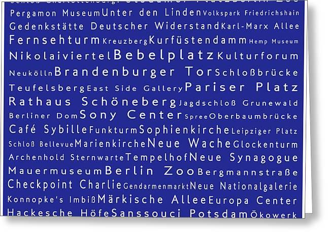 Berlin In Words Blue Greeting Card