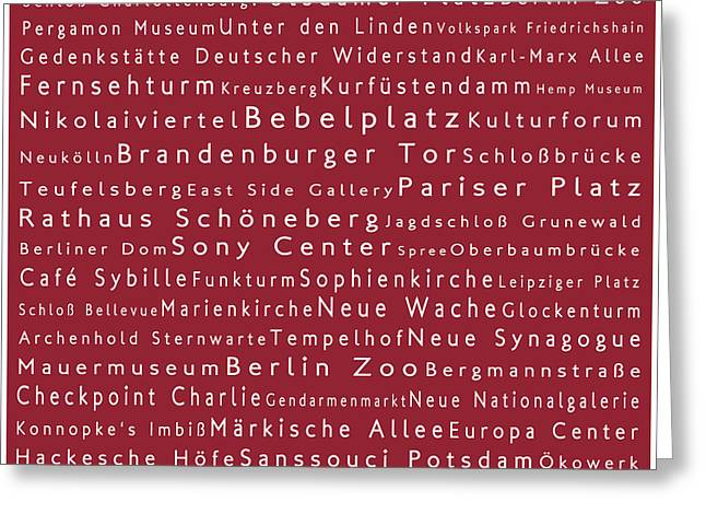 Berlin In Words Red Greeting Card