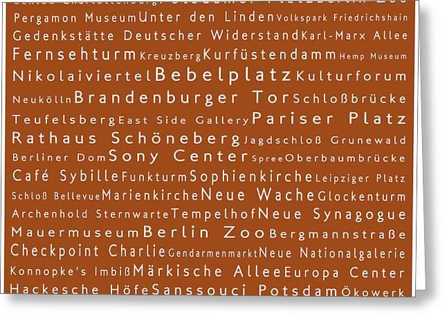 Berlin In Words Toffee Greeting Card by Sabine Jacobs