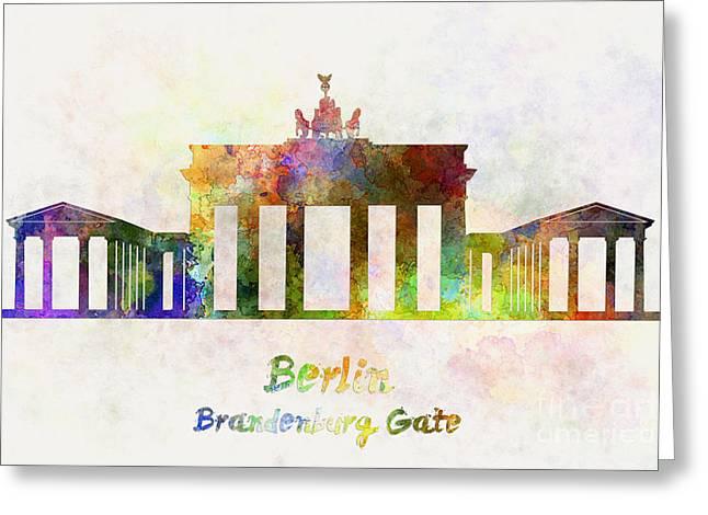Berlin Landmark Brandenburg Gate In Watercolor Greeting Card by Pablo Romero