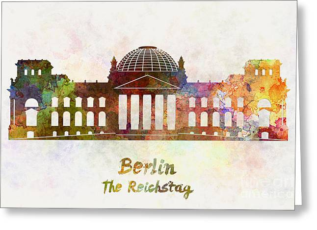 Berlin Landmark The Reichstag In Watercolor Greeting Card by Pablo Romero