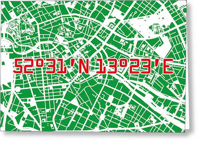 Berlin Map Green Greeting Card by Big City Artwork