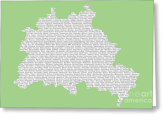 Berlin Map Typgraphy Greeting Card by Art Photography