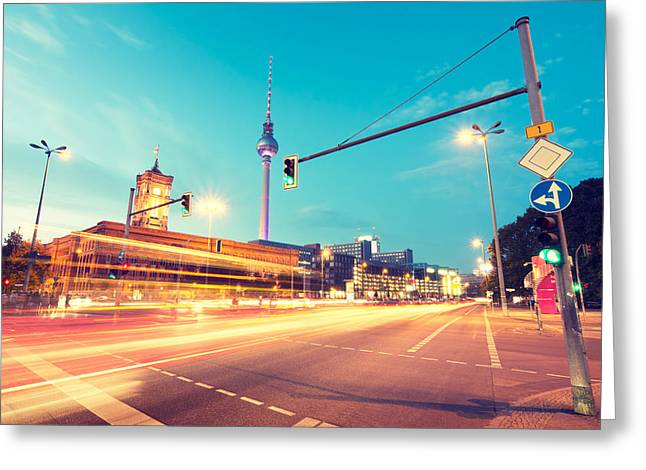 Berlin Rush Hour Greeting Card by Alexander Voss