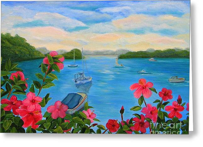 Bermuda Hibiscus - Bermuda Seascape With Boats And Hibiscus Greeting Card by Shelia Kempf