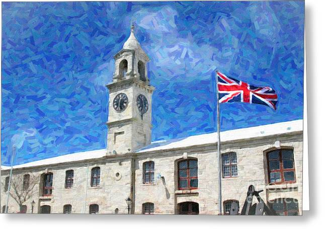 Greeting Card featuring the photograph Bermuda Clocktower by Verena Matthew