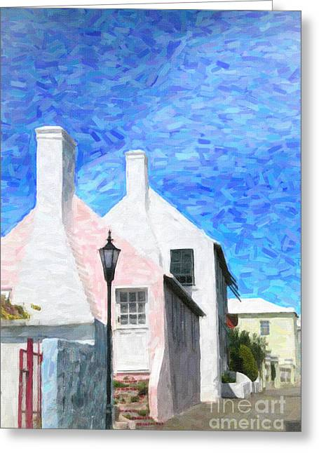 Greeting Card featuring the photograph Bermuda Side Street by Verena Matthew