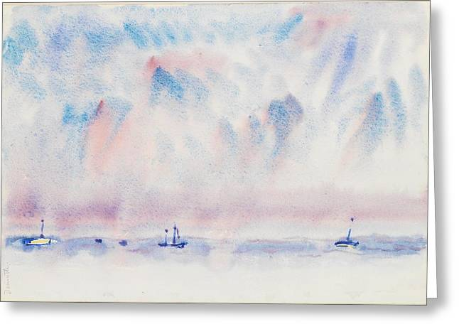Bermuda Sky And Sea With Boats Greeting Card by Charles Demuth