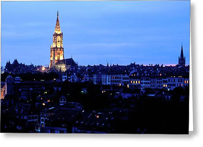 Bern Cathedral And Skyline At Dusk Greeting Card