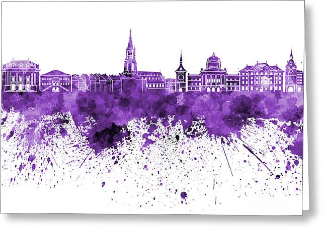Bern Skyline In Purple Watercolor On White Background Greeting Card by Pablo Romero