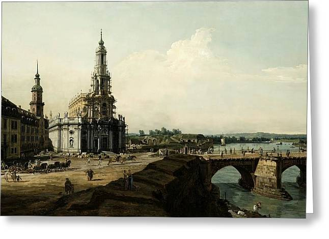 View Of Dresden From The Left Shore Of The Elbe River Greeting Card by MotionAge Designs