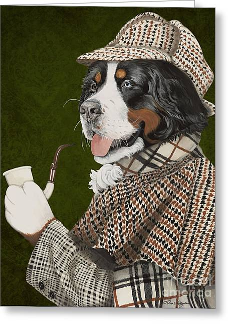 Berner Of The Baskerville Greeting Card by Liane Weyers