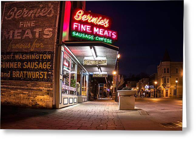Bernies Fine Meats Signage Greeting Card