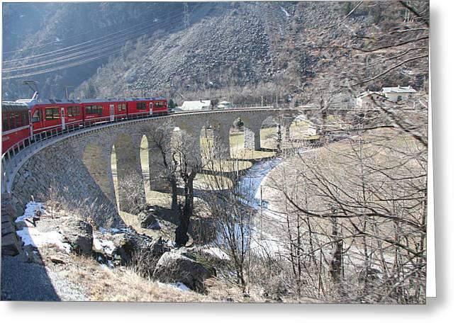 Bernina Express In Winter Greeting Card