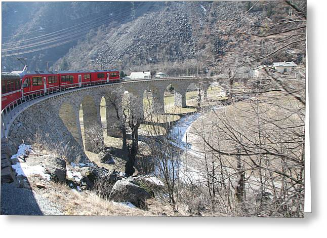 Bernina Express In Winter Greeting Card