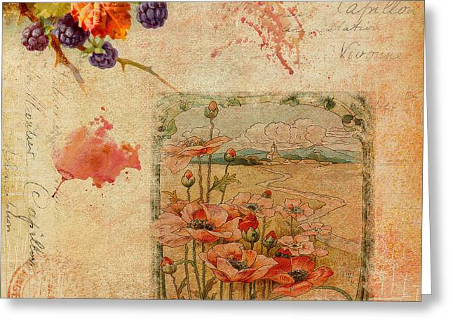 Berries And Poppies Greeting Card