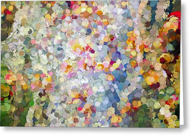 Berries Around The Tree - Abstract Art Greeting Card