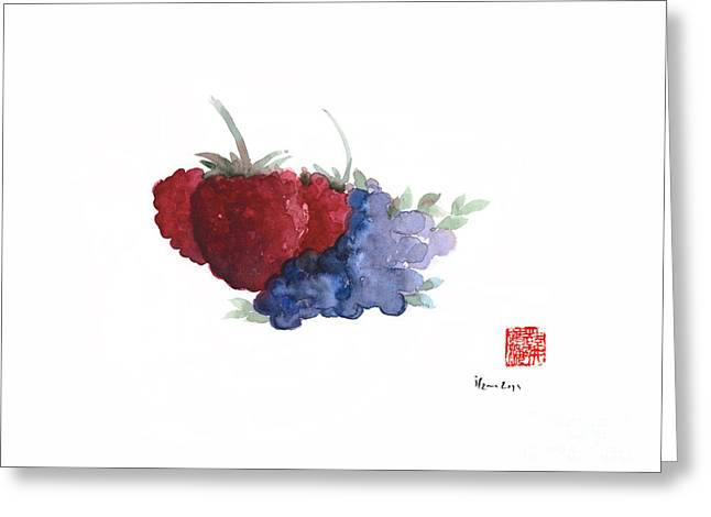 Berries Red Pink Black Blue Fruit Blueberry Blueberries Raspberry Raspberries Fruits Watercolors  Greeting Card
