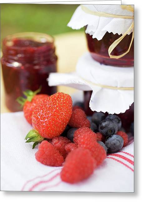 Berry Jam As A Gift And Fresh Berries Greeting Card
