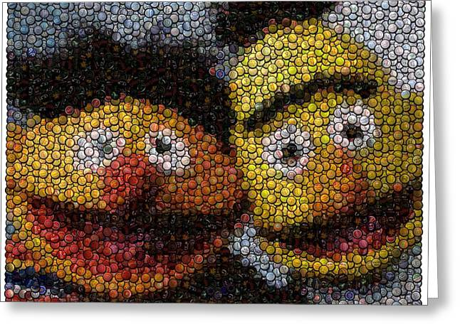 Bert And Ernie Bottle Cap Mosaic Greeting Card by Paul Van Scott