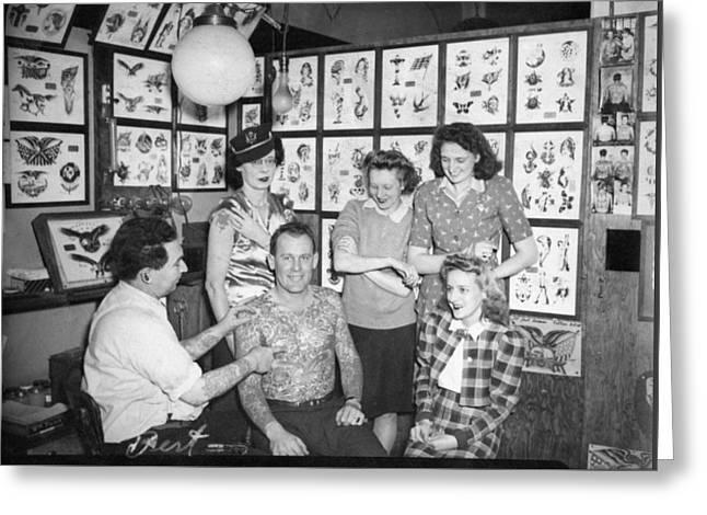 Tattoo Artist Bert Grimm And Friends Flash Art Studio Greeting Card by Larry Mora