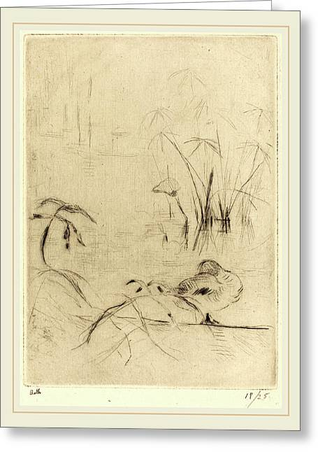 Berthe Morisot French, 1841-1895, Ducks At Rest On The Bank Greeting Card by Litz Collection