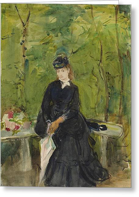 Berthe Morisot French, 1841 - 1895, The Artists Sister Edma Greeting Card by Quint Lox