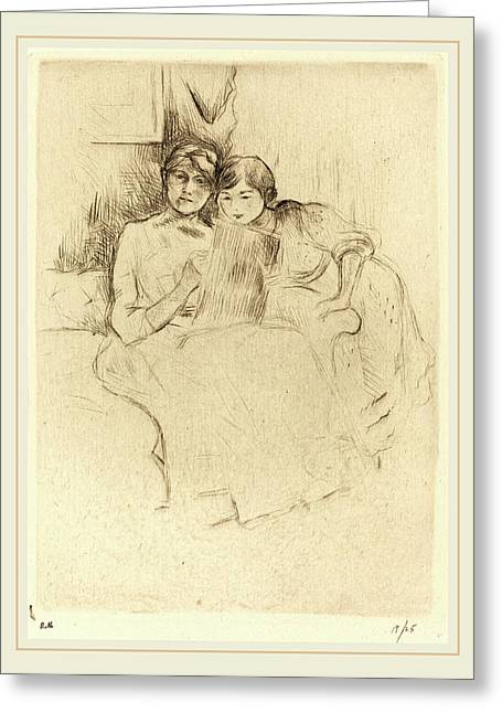 Berthe Morisot French, 1841-1895, The Drawing Lesson Greeting Card by Litz Collection