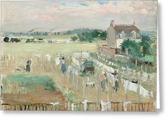 Berthe Morisot, Hanging The Laundry Out To Dry Greeting Card