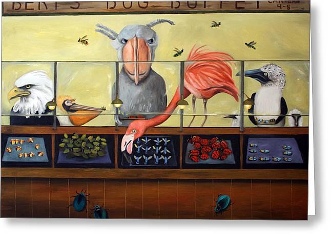 Bert's Bug Buffet Greeting Card by Leah Saulnier The Painting Maniac