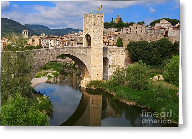 Besalu A Medieval Town In Catalonia Greeting Card by Louise Heusinkveld