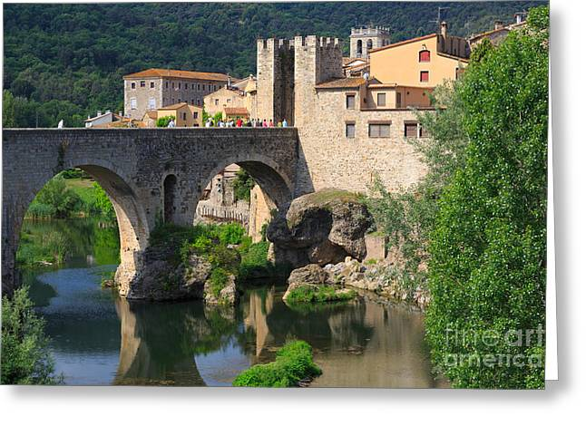 Besalu A Medieval Town In Catalonia Spain Greeting Card by Louise Heusinkveld