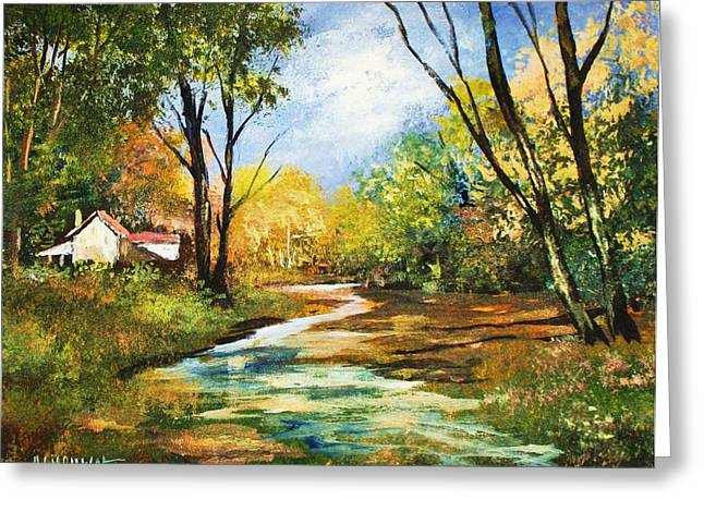 Greeting Card featuring the painting Beside The Stream by Al Brown