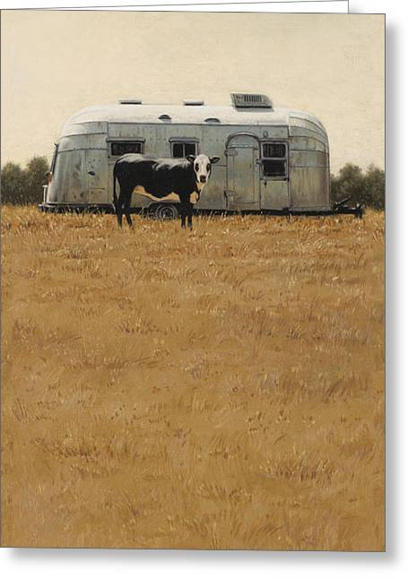 Greeting Card featuring the painting Bessie Wants To Travel by Ron Crabb