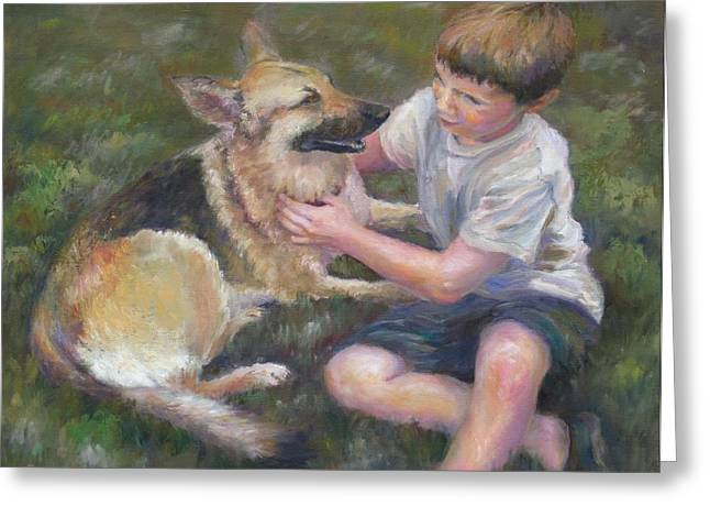 Greeting Card featuring the painting Best Friends by Bonnie Goedecke