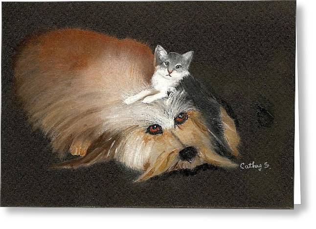 Best Friends Greeting Card by Catherine Swerediuk