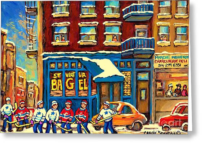 Best Sellers Original Montreal Paintings For Sale Hockey Game At St.viateur Bagel Carole Spandau Greeting Card by Carole Spandau