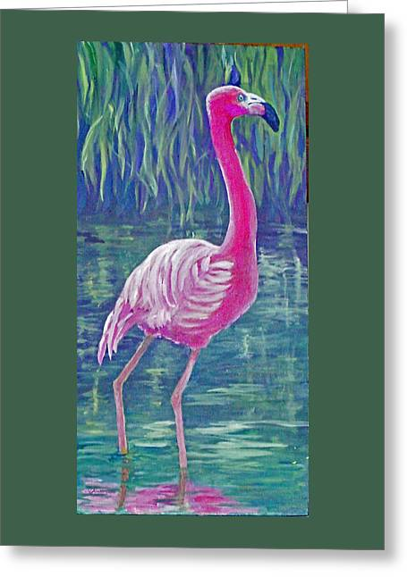 Beta's Flamingo Greeting Card by Harriett Masterson