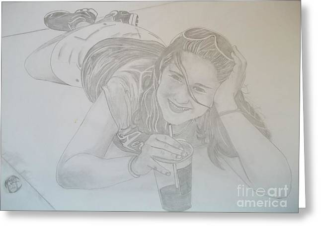 Greeting Card featuring the drawing Bethany by Justin Moore