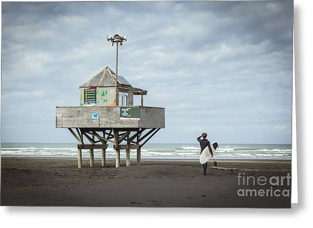 Bethells Beach New Zealand Lifeguard Tower And Surfer  Greeting Card by Colin and Linda McKie