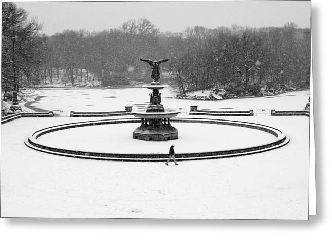 Greeting Card featuring the photograph Bethesda Angel In Snow by Dave Beckerman