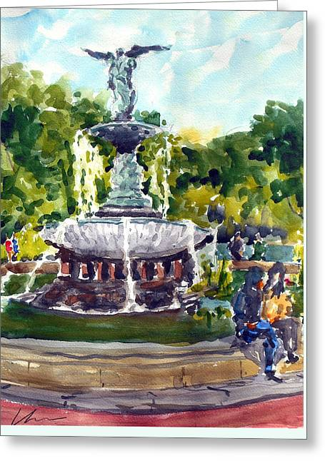 Bethesda Fountain At Central Park Greeting Card by Chris Coyne