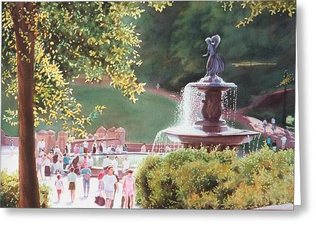 Bethesda Fountain Greeting Card by Daniel Dayley