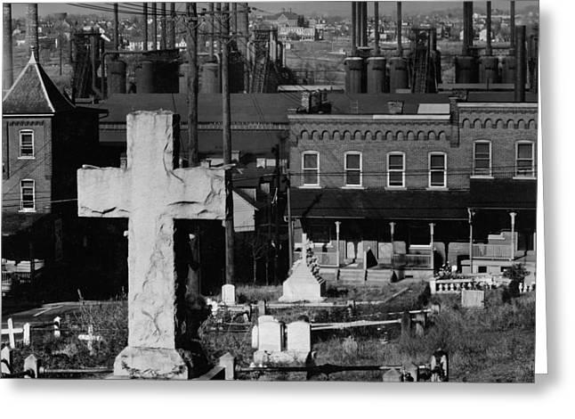 Bethlehem Graveyard And Steel Mill Pennsylvania Greeting Card