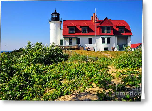 Betsie Point Lighthouse Greeting Card by Terri Gostola