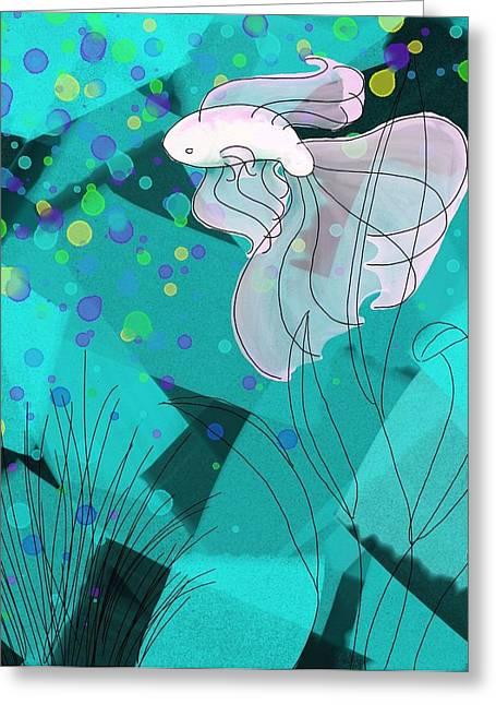 Betta Fish On Colored Background Greeting Card by Savannah Bertozzi